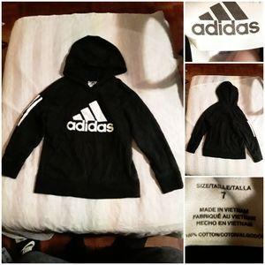 Adidas Boys Age 7 Black & White Hoody Sweatshirt
